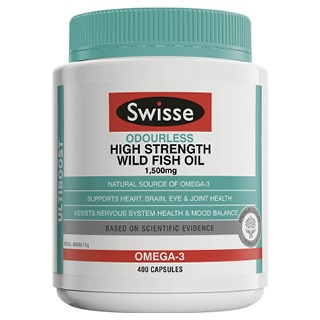 Image for Swisse Ultiboost Odourless High Strength Wild Fish Oil 1500mg - 400 Capsules from Amcal