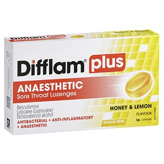 Image for Difflam Aaa Honey/Lemon Sugar Free - 16 Lozenges from Amcal