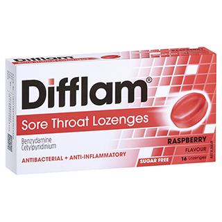 Image for Difflam Sore Throat Lozenges Raspberry - 16 Lozenges from Amcal