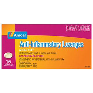 Image for Amcal Throat Lozenges Raspberry - 16 pack from Amcal