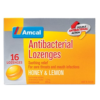 Image for Amcal Anti Bacterial Lozenges Honey & Lemon - 16 Pack from Amcal