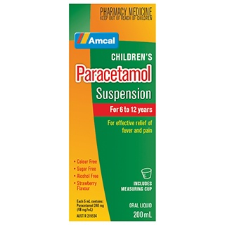 Image for Amcal Paracetamol Suspension 6-12 Years - 200ml from Amcal