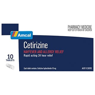 Image for Amcal Cetirizine 10 mg - 10 Tablets from Amcal