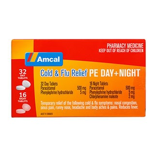 Image for Amcal Cold & Flu Relief PE Day Plus Night 48 Tablets from Amcal