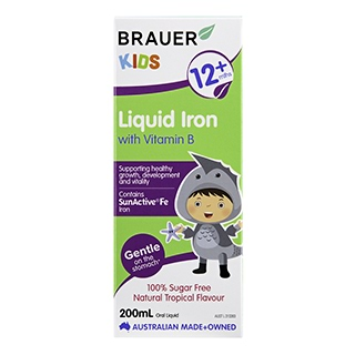 Image for Brauer Kids Liquid Iron with Vitamin B Tropical Flavour - 200mL from Amcal