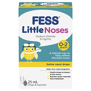 Image for Fess Little Noses Saline Nasal Drops and Aspirator - 25mL from Amcal