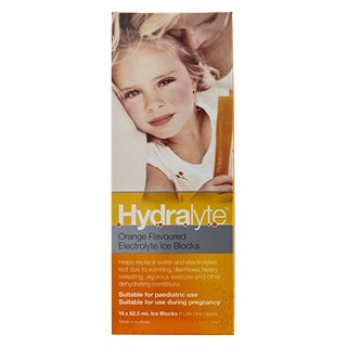 Image for Hydralyte Orange Flavoured Electrolyte Ice-Blocks - 16 Pack from Amcal