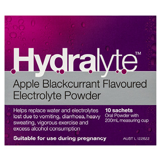 Image for Hydralyte Apple/Blackcurrant Flavored Electrolyte Powder - 10 Pack from Amcal