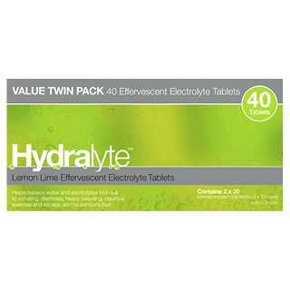 Image for Hydralyte Lemon Lime Effervescent Electrolyte Tablets - 40 Pack from Amcal