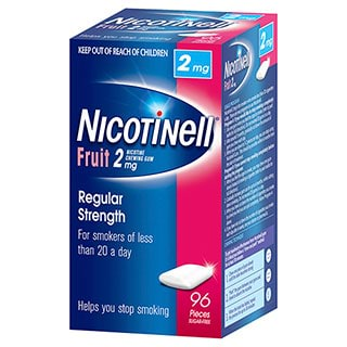 Image for Nicotinell Gum 2mg Fruit - 96 Pack from Amcal