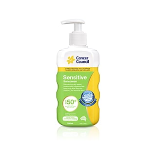 Image for Cancer Council Sensitive Sunscreen Pump SPF50 Plus - 200mL from Amcal