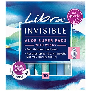 Image for Libra Invisible Pads Aloe Super with Wings - 10 Pack from Amcal