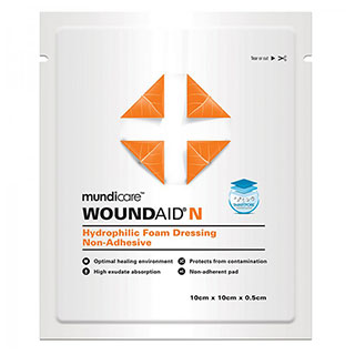 Image for Mundicare Woundaid Hydrophilic Foam Dressing - 10cm x 10cm from Amcal