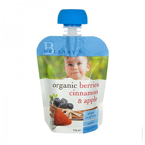 NEW Bellamy's Organic Baby Food Berries Cinnamon And Apple Ready To Serve