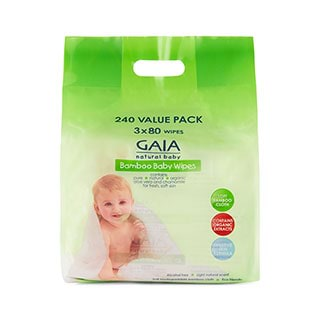 Image for GAIA Natural Baby Bamboo Wipes - 240 Pack from Amcal