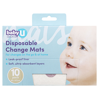 Image for Baby U Disposable Change Mats - 10 Pack from Amcal