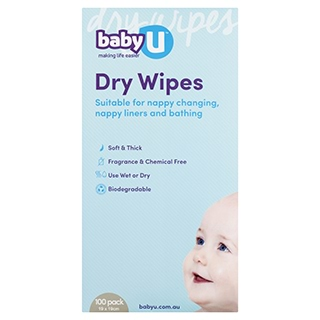 Image for Baby U Dry Wipes - 100 Pack from Amcal