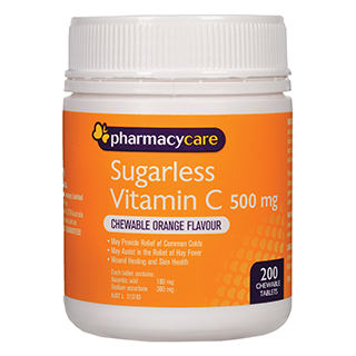 Image for Pharmacy Care Sugarless Vitamin C 500mg Orange - 200 Tablets from Amcal