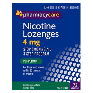 Image for Pharmacy Care Nicotine Lozenges 4 mg Peppermint - 72 Pack from Amcal