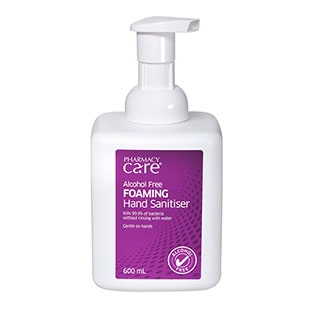 Image for Pharmacy Care Alcohol Free Foaming Hand Sanitiser - 600 mL from Amcal