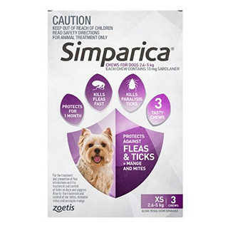 Image for Simparica For Dogs 2.6 - 5kg Purple - 3 Pack from Amcal