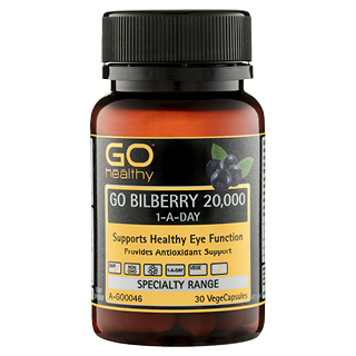 Image for GO Healthy GO Bilberry 20,000 1-A-Day VegeCapsules - 30 Pack from Amcal