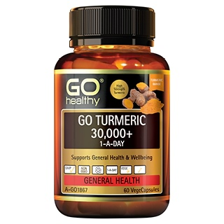 Image for GO Healthy GO Turmeric 30,000 Plus 1-A-Day VegeCapsules - 60 Pack from Amcal
