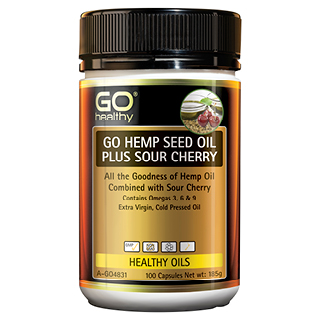 Image for GO Healthy GO Hemp Seed Oil Plus Sour Cherry - 100 Capsules from Amcal