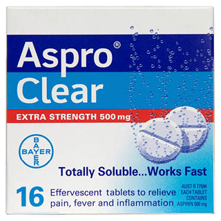 Aspro Clear 500mg Extra Strength - 16 Tablets